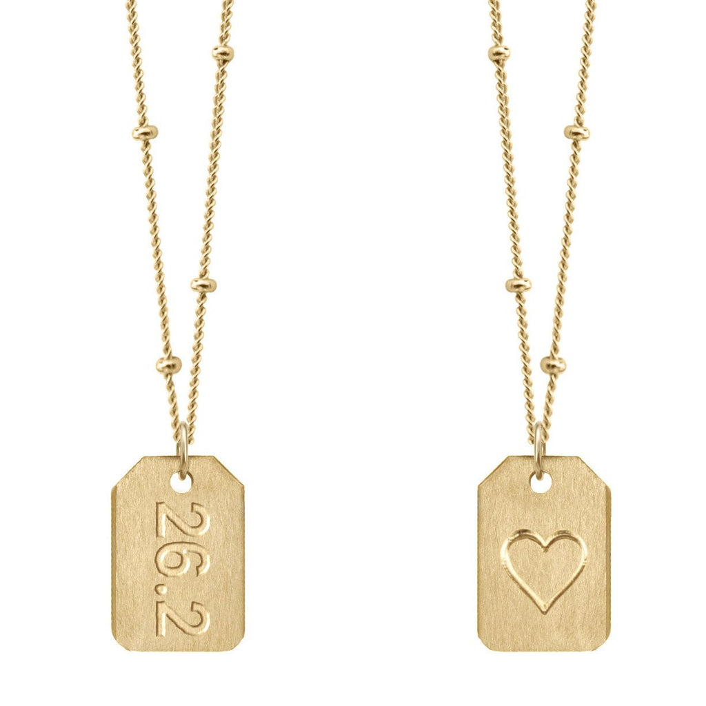 Chelsea Charles 26.2 gold Love Tag necklace