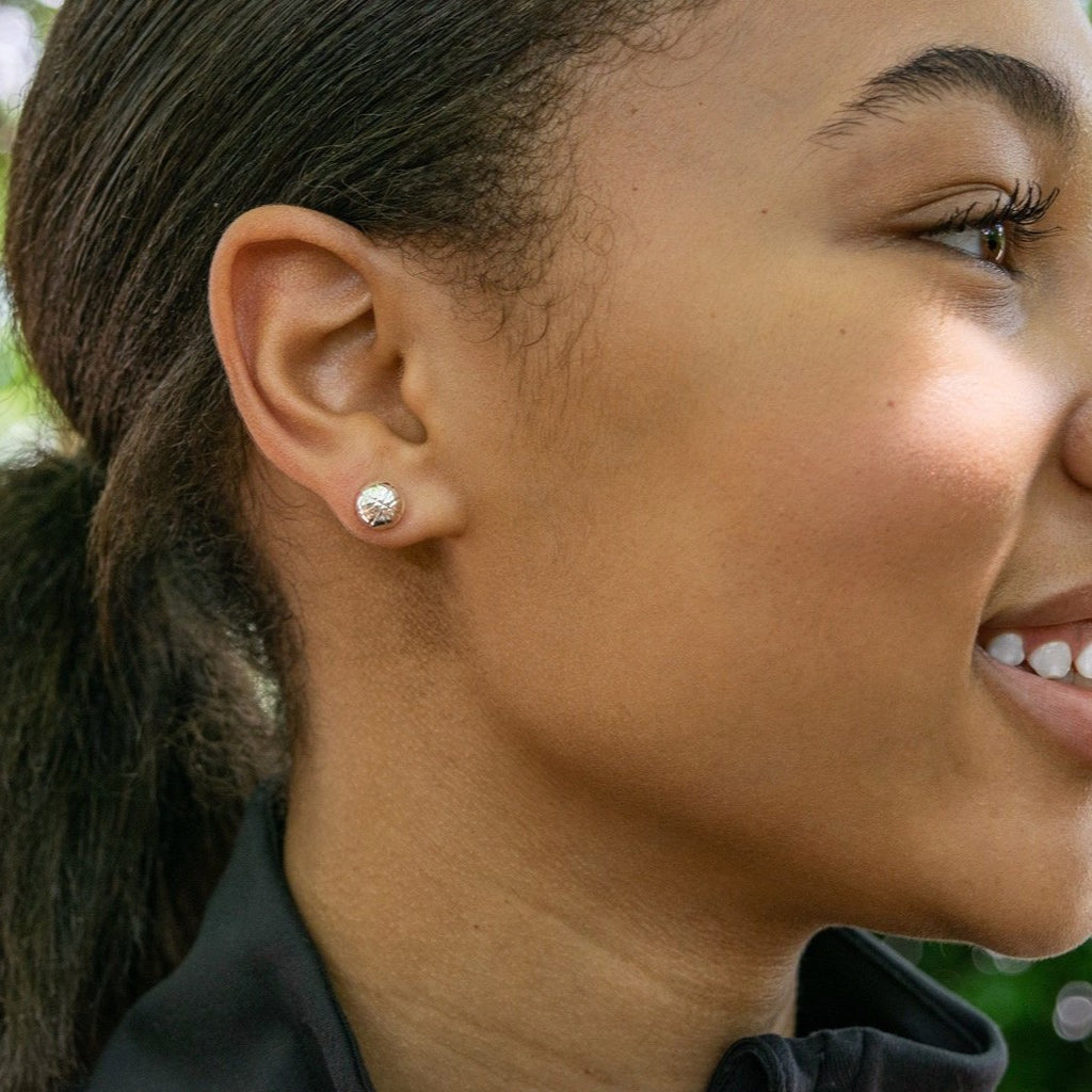 CC Sport Silver Basketball Earrings by Chelsea Charles