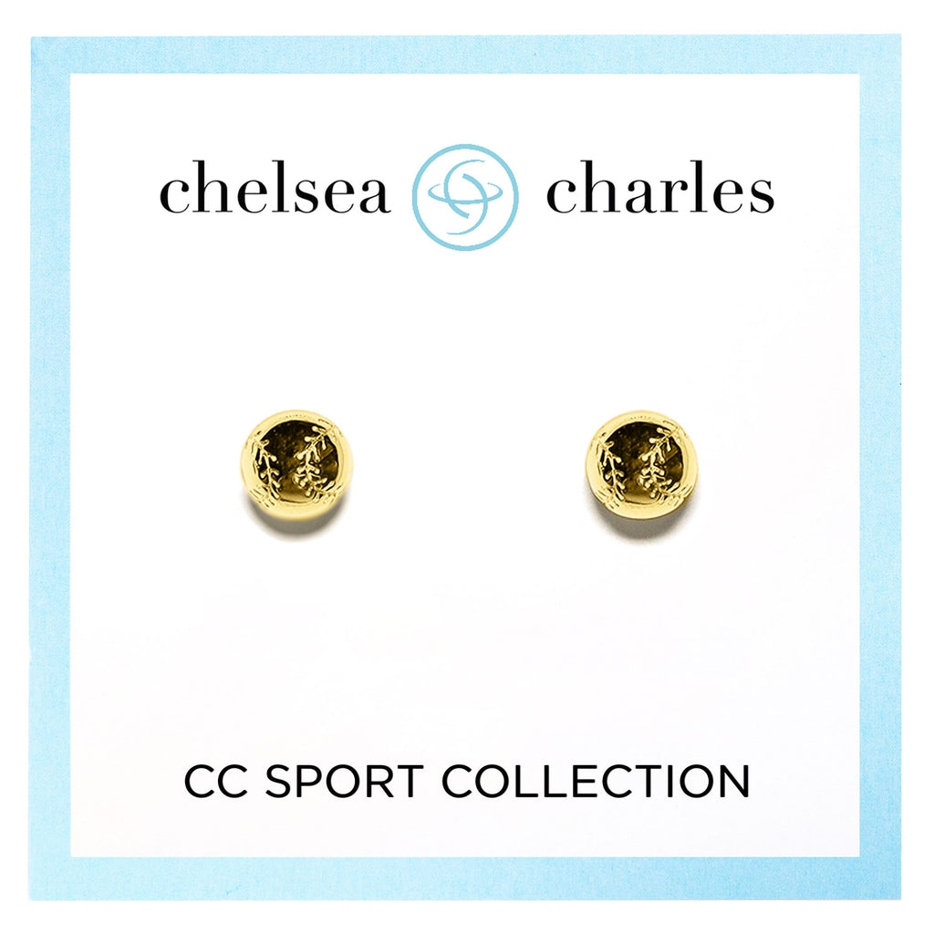 CC Sport Gold Baseball Earrings by Chelsea Charles