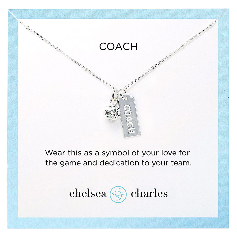 CC Sport Silver Soccer Coach Charm Necklace by Chelsea Charles