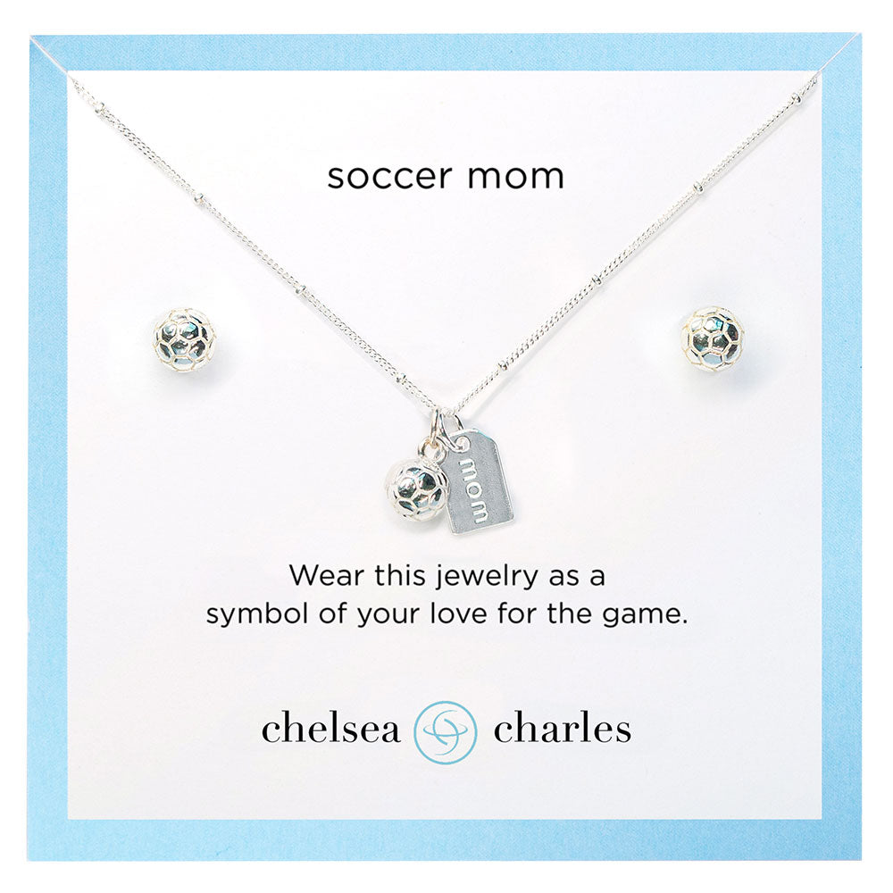 CC Sport Soccer Mom Double Charm Necklace and Earring Gift Set
