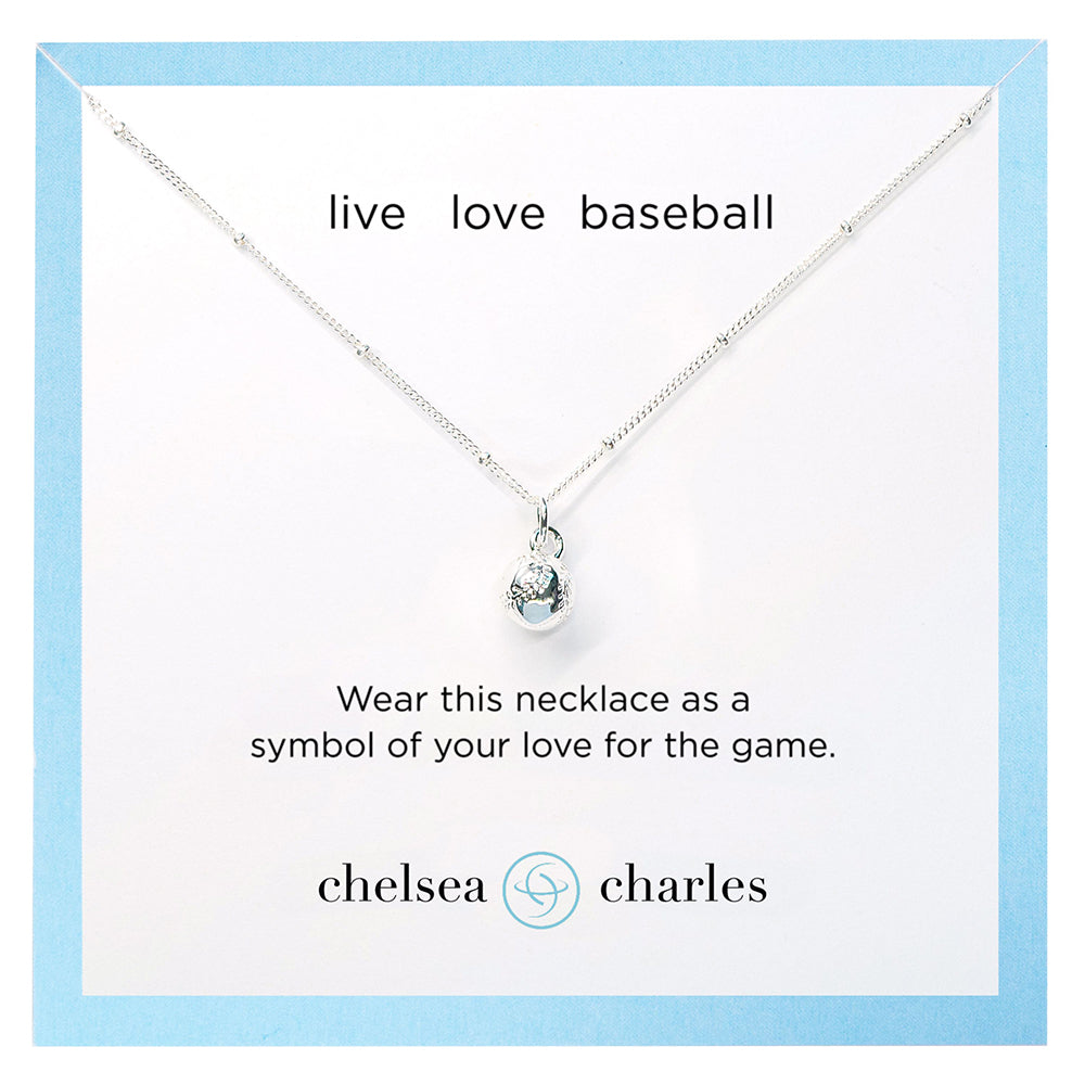 CC Sport Silver Baseball Charm Necklace by Chelsea Charles