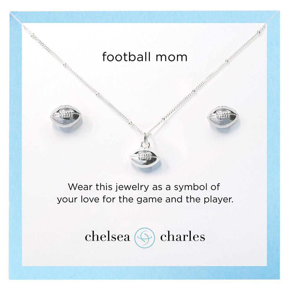 CC Sport Football Mom Double Charm Necklace and Earring Gift Set by Chelsea Charles