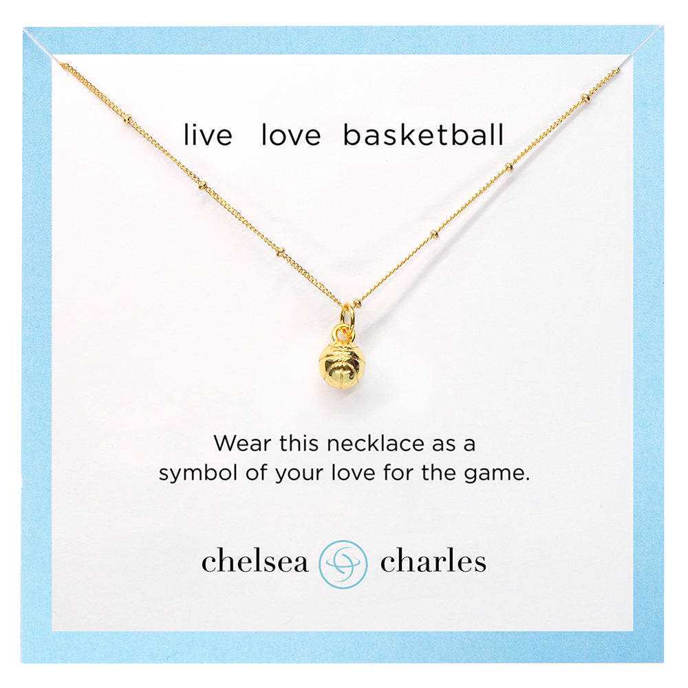 CC Sport Gold Basketball Charm Necklace by Chelsea Charles