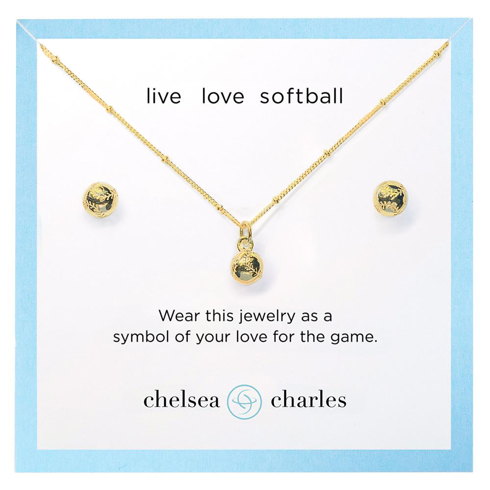 CC Sport Gold Softball Earrings and Necklace Gift Set