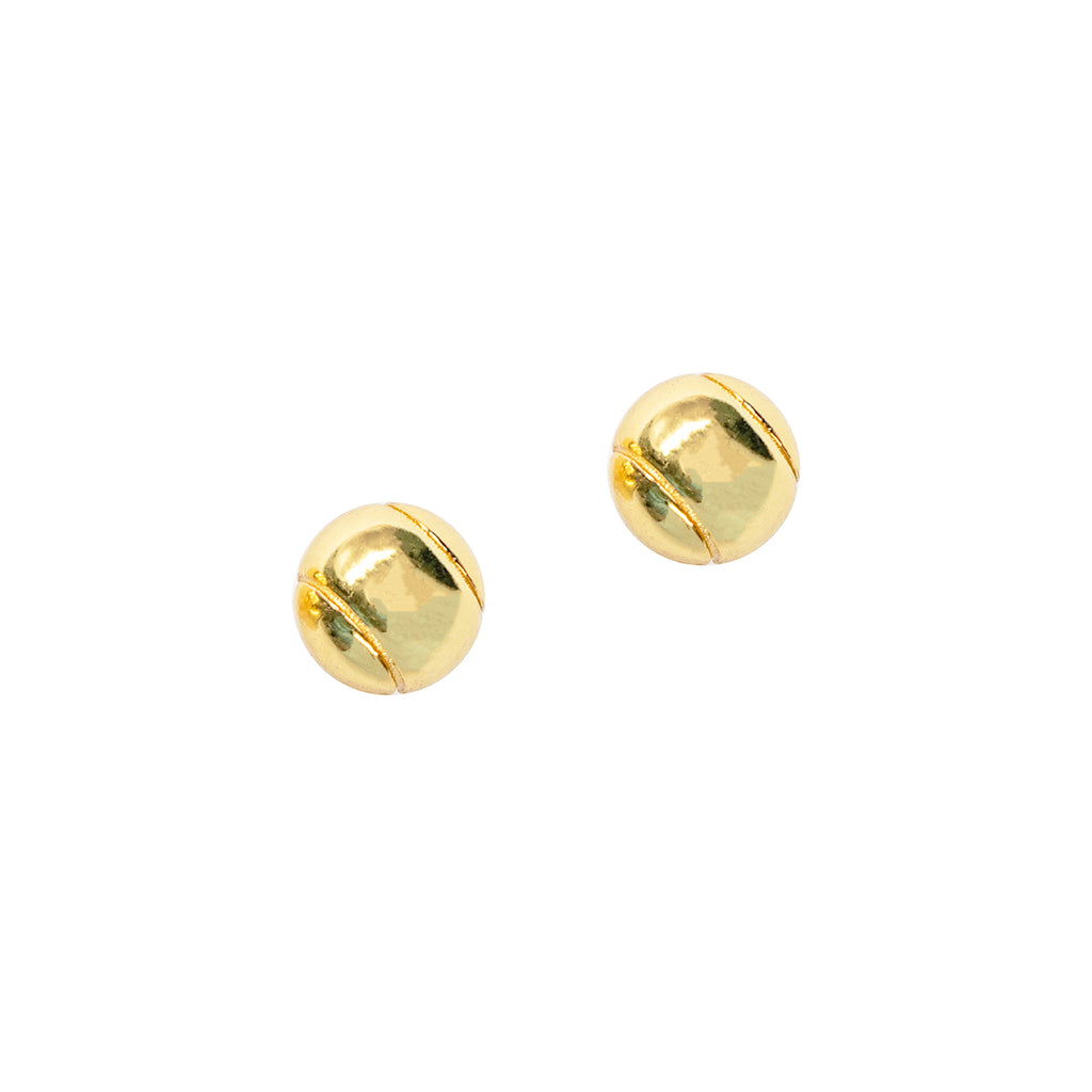 CC Sport Gold Tennis Ball Earrings by Chelsea Charles