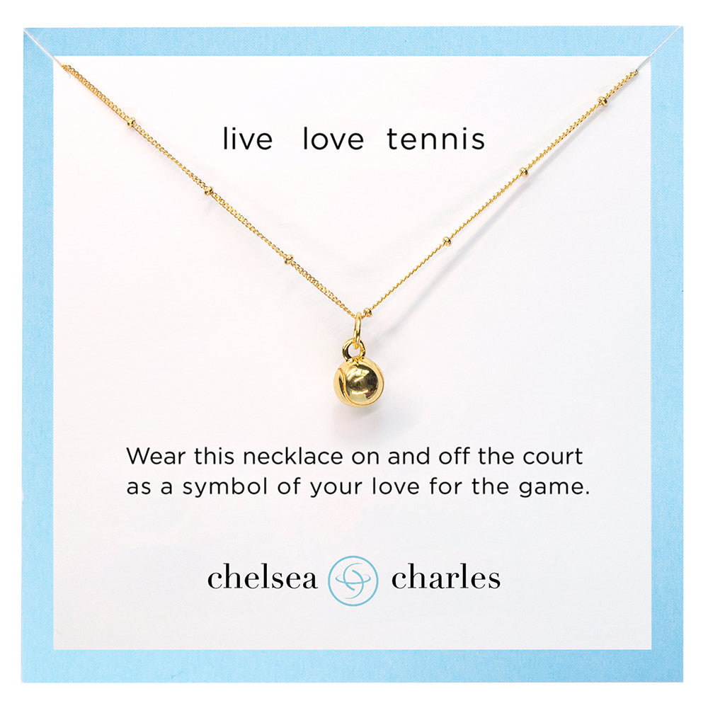 CC Sport Gold Tennis Charm Necklace by Chelsea Charles