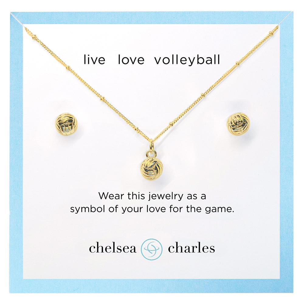 CC Sport Gold Volleyball Necklace and Earrings Gift Set by Chelsea Charles