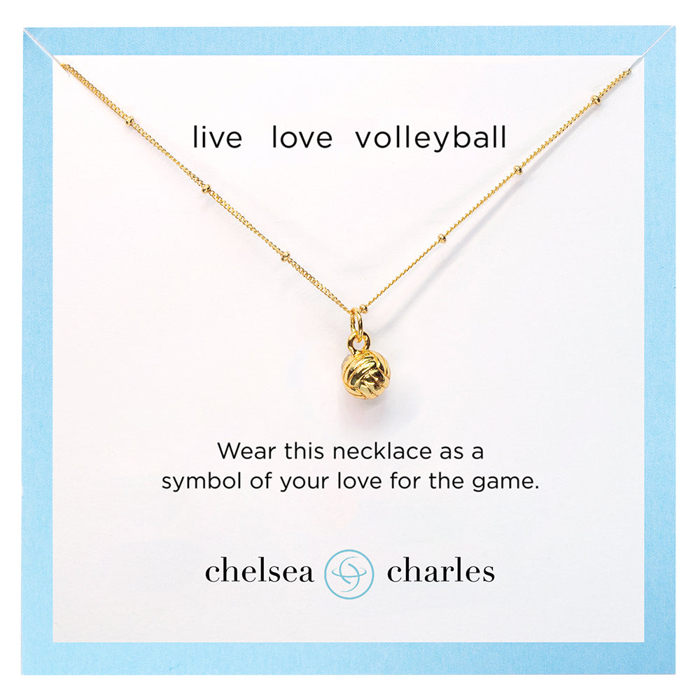 CC Sport Gold Volleyball Charm Necklace by Chelsea Charles