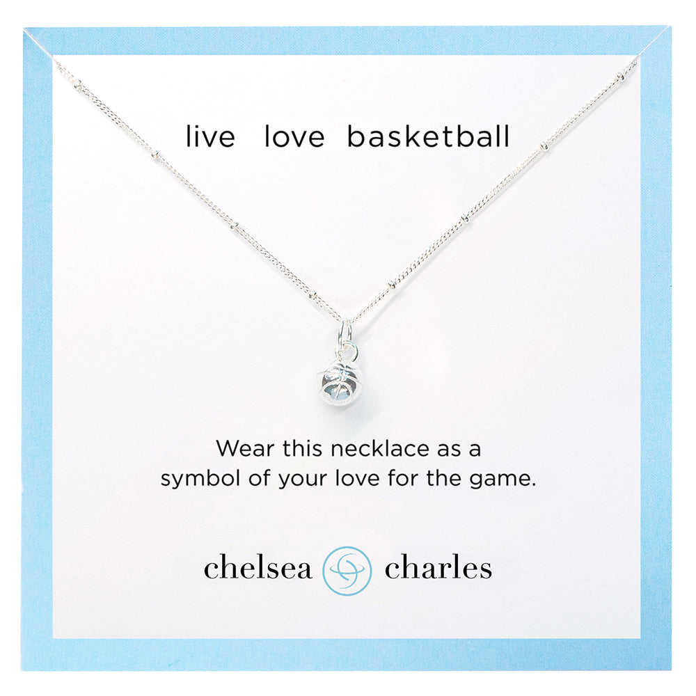 CC Sport Silver Basketball Charm Necklace by Chelsea Charles