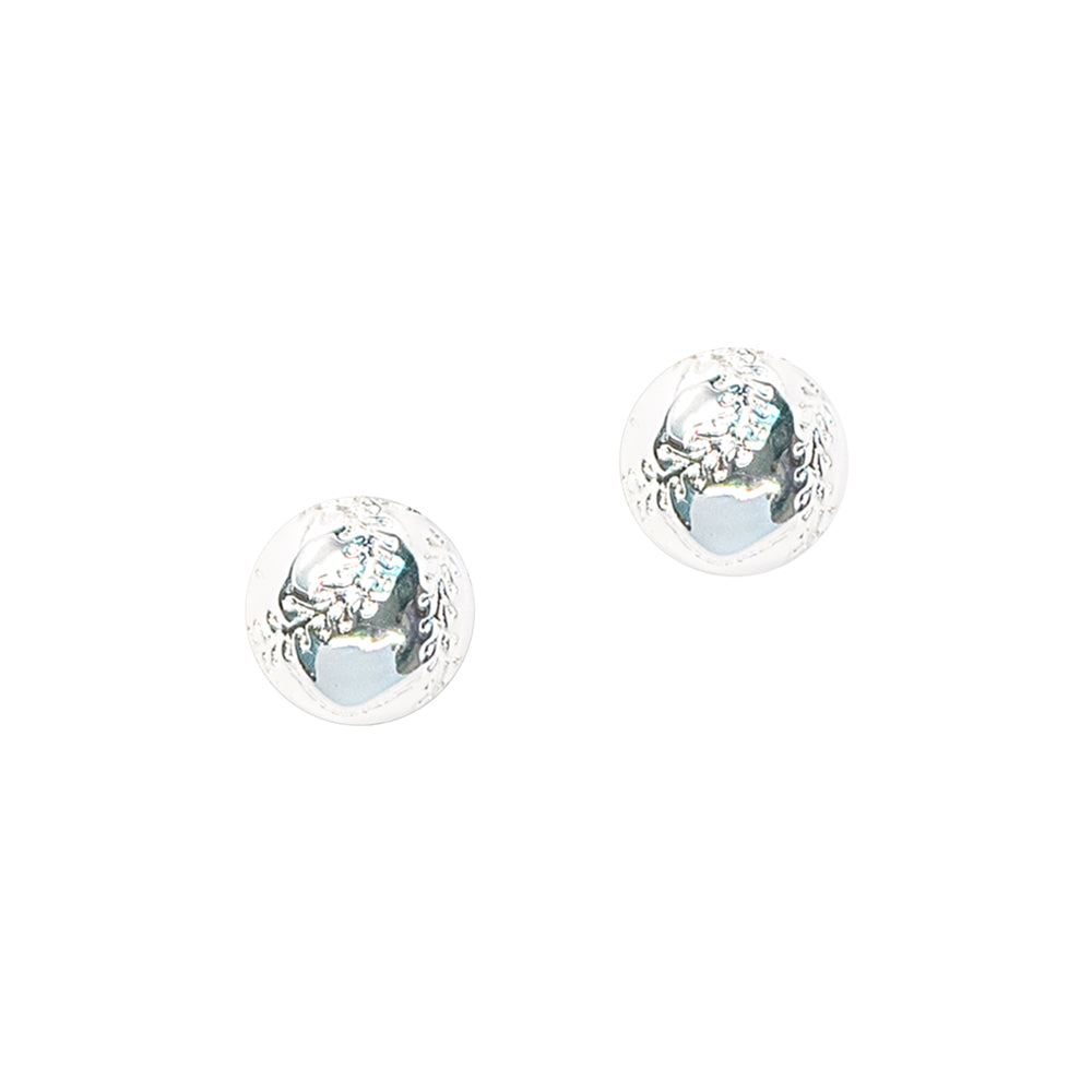CC Sport Silver Baseball Earrings by Chelsea Charles