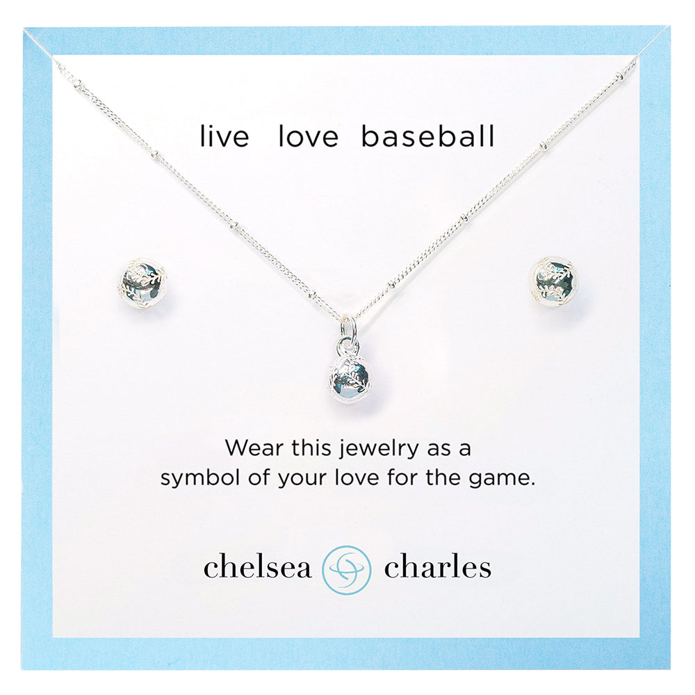 CC Sport Baseball Necklace and Earrings Gift Set