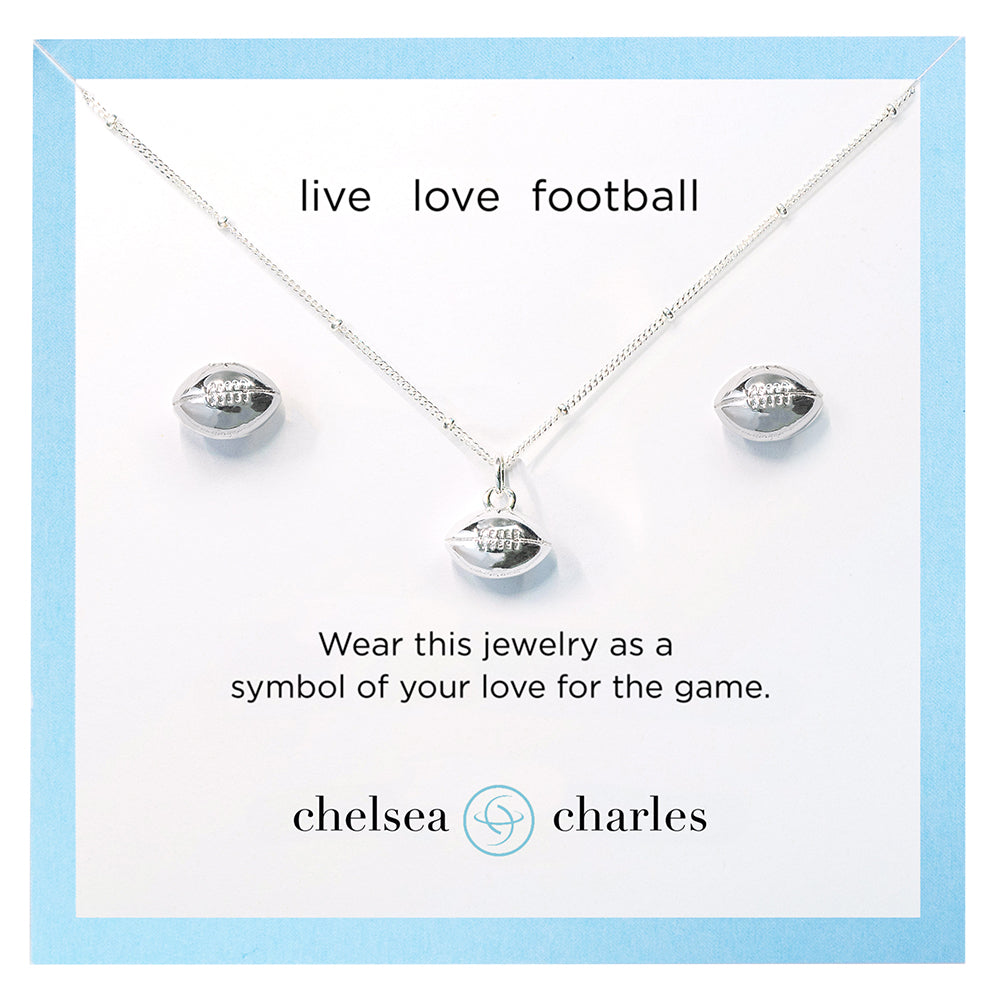 CC Sport Football Necklace and Earrings Gift Set