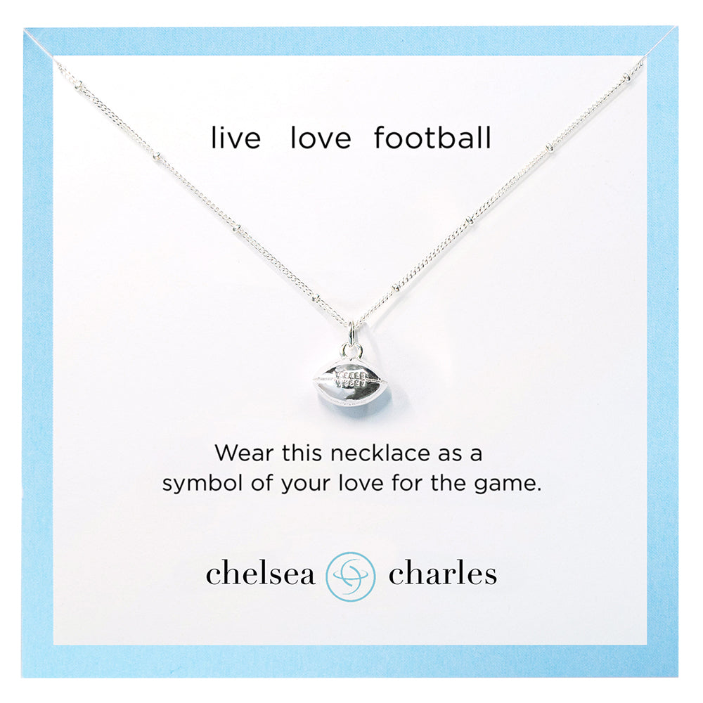 CC Sport Silver Football Charm Necklace by Chelsea Charles