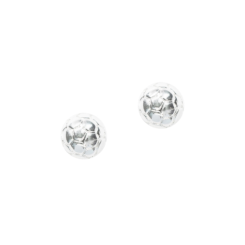 CC Sport Silver Soccer Ball Earrings by Chelsea Charles