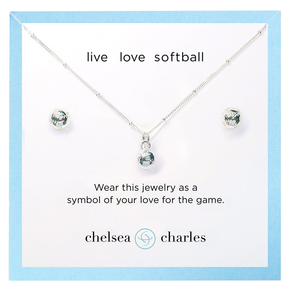 CC Sport Softball Necklace and Earrings Gift Set