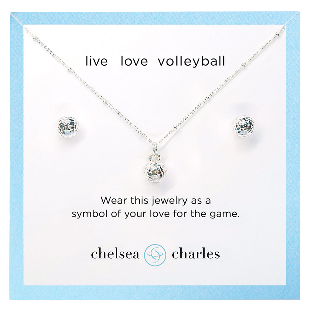 CC Sport Volleyball Necklace and Earrings Gift Set
