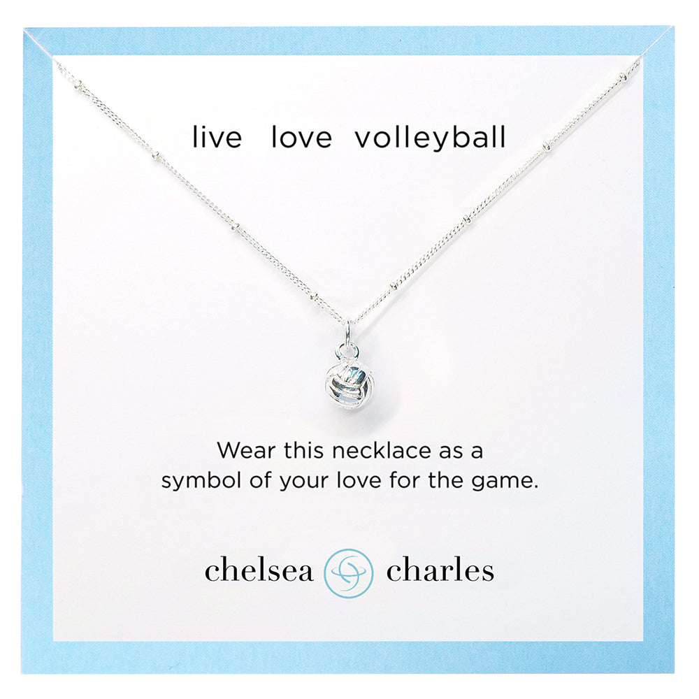 CC Sport Silver Volleyball Charm Necklace by Chelsea Charles