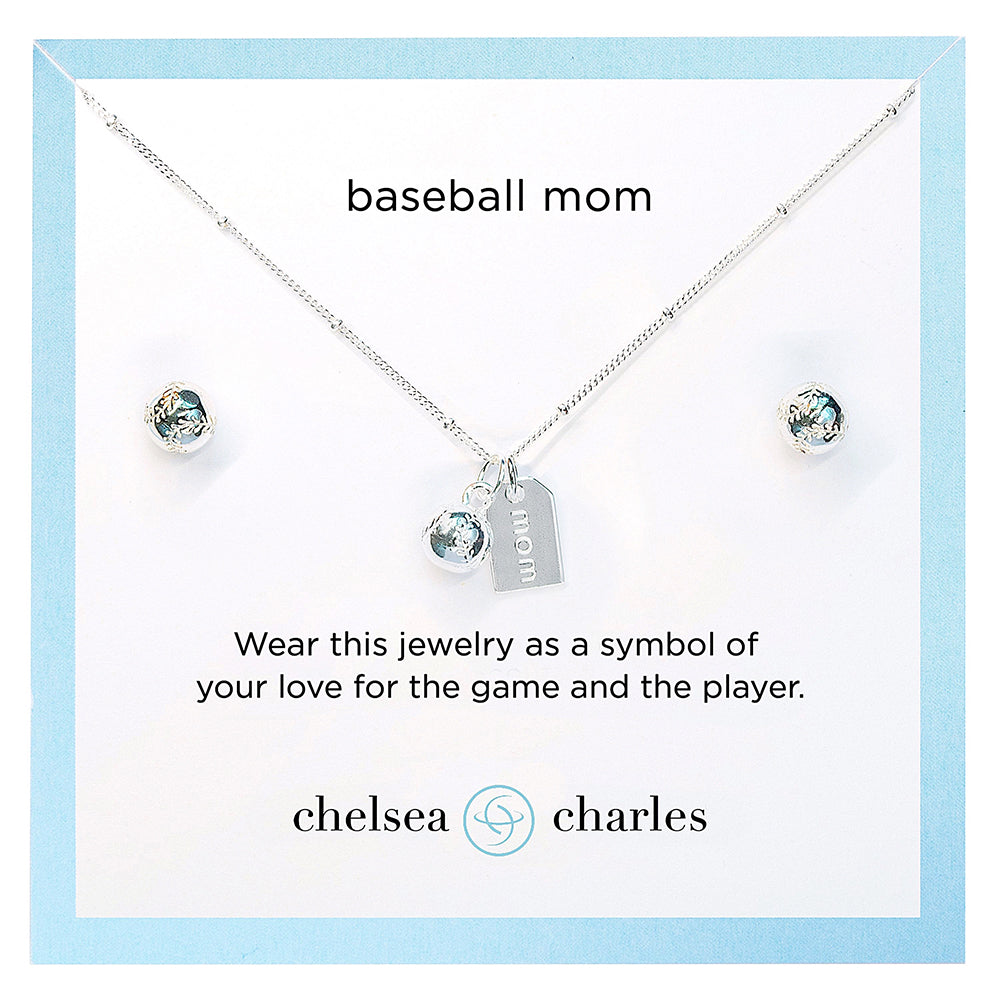 CC Sport Silver Baseball Mom Double Charm Necklace and Earring Gift Set by Chelsea Charles