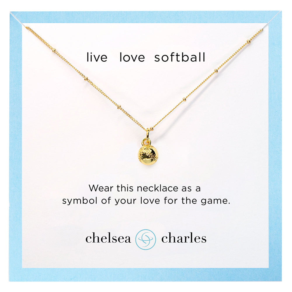 CC Sport Gold Softball Charm Necklace by Chelsea Charles