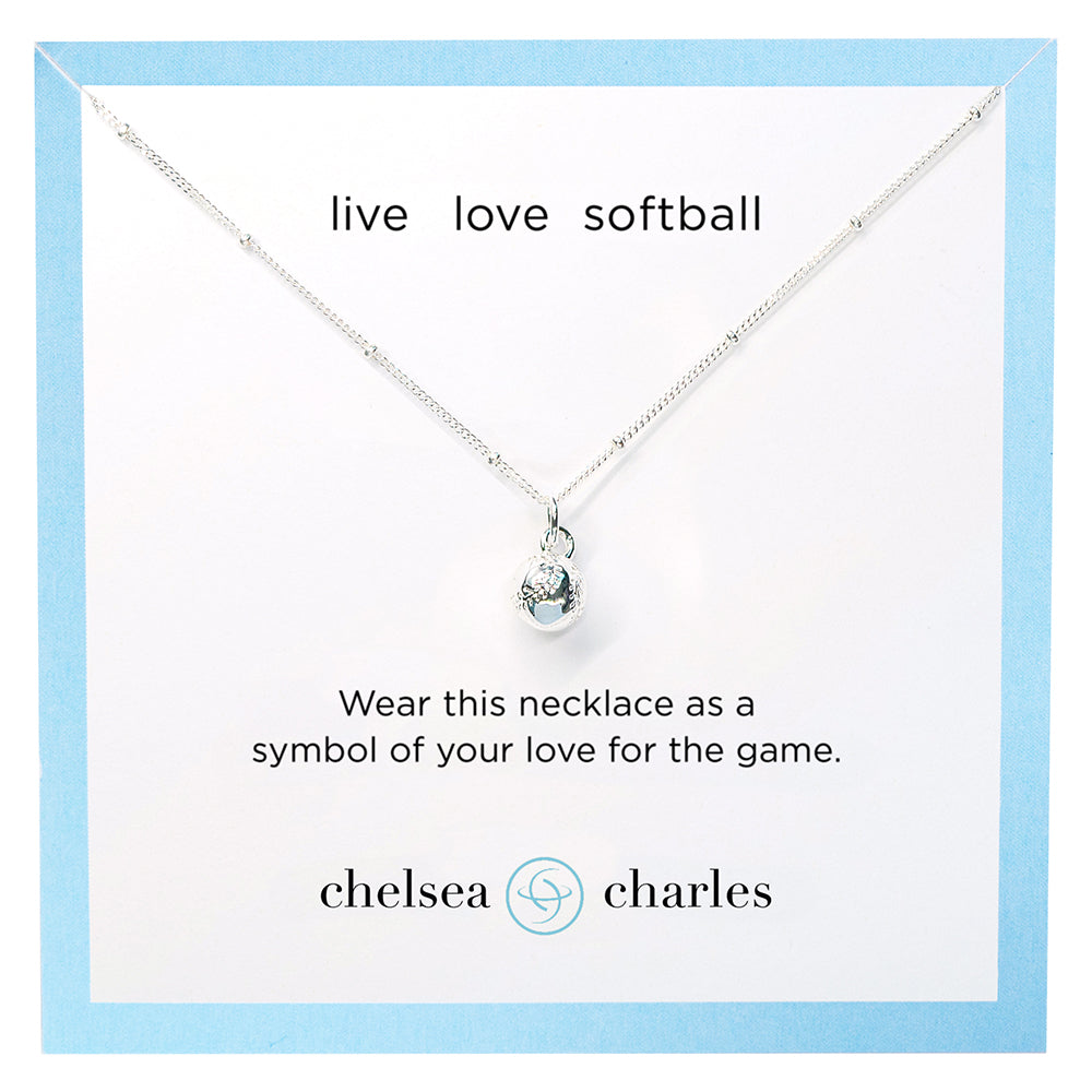 CC Sport Silver Softball Charm Necklace by Chelsea Charles