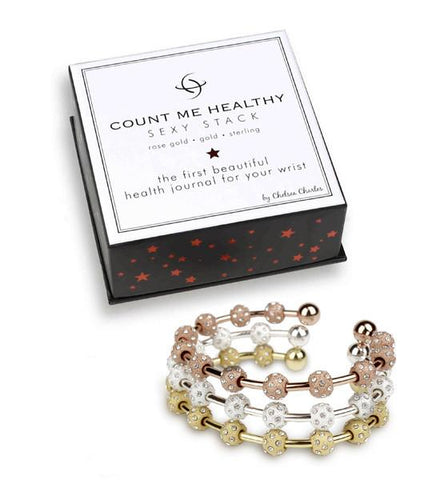 Count Me Healthy Crystal Sexy Stack of Three Bracelets