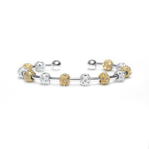 Count Me Healthy Crystal Laurel Two-Tone Bracelet - Silver Cuff