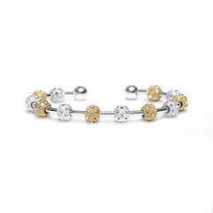 Count Me Healthy Crystal Silver & Gold Laurel Bracelet by Chelsea Charles