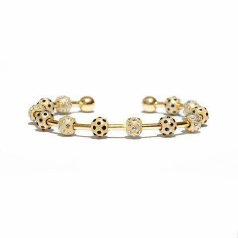 Count Me Healthy Gold Ladybug Crystal Bracelet