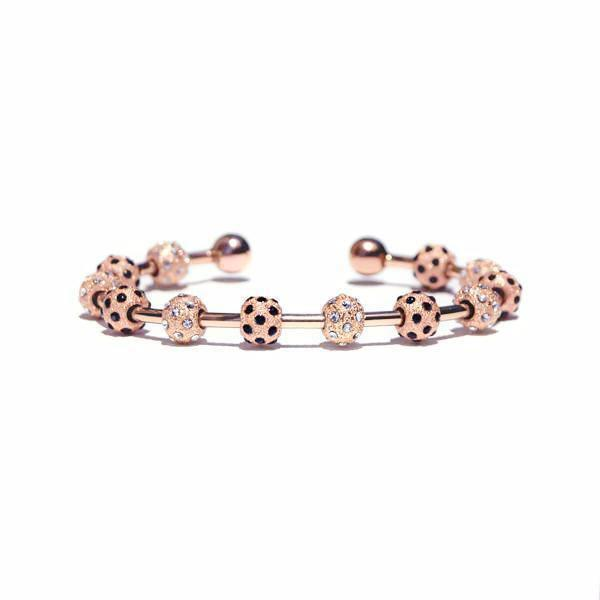 Count Me Healthy Rose Gold & Onyx Crystal Journal Bracelet
