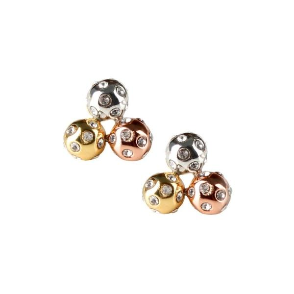 Tricolor Crystal Cluster Stud Earrings