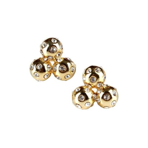 Crystal Cluster Studs - Gold