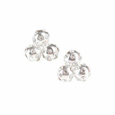 Silver Crystal Cluster Stud Earrings