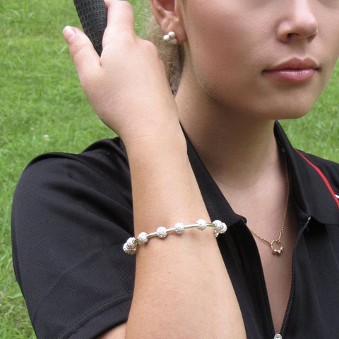 Golf Goddess Silver and Crystal Stroke Counter Bracelet