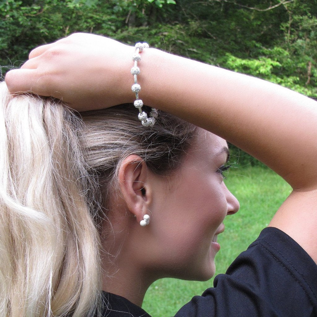 Golf Goddess Crystal Silver Score Counter Bracelet by Chelsea Charles