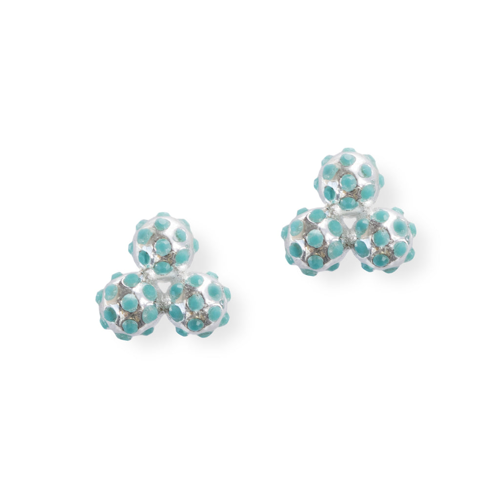 Chelsea Charles Silver And Vibrant Turquoise Cluster Earrings