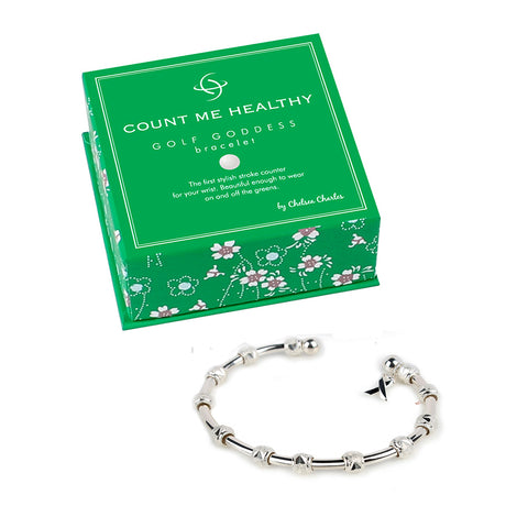 Golf Goddess Silver Stroke Counter Bracelet With Breast Cancer Ribbon Charm