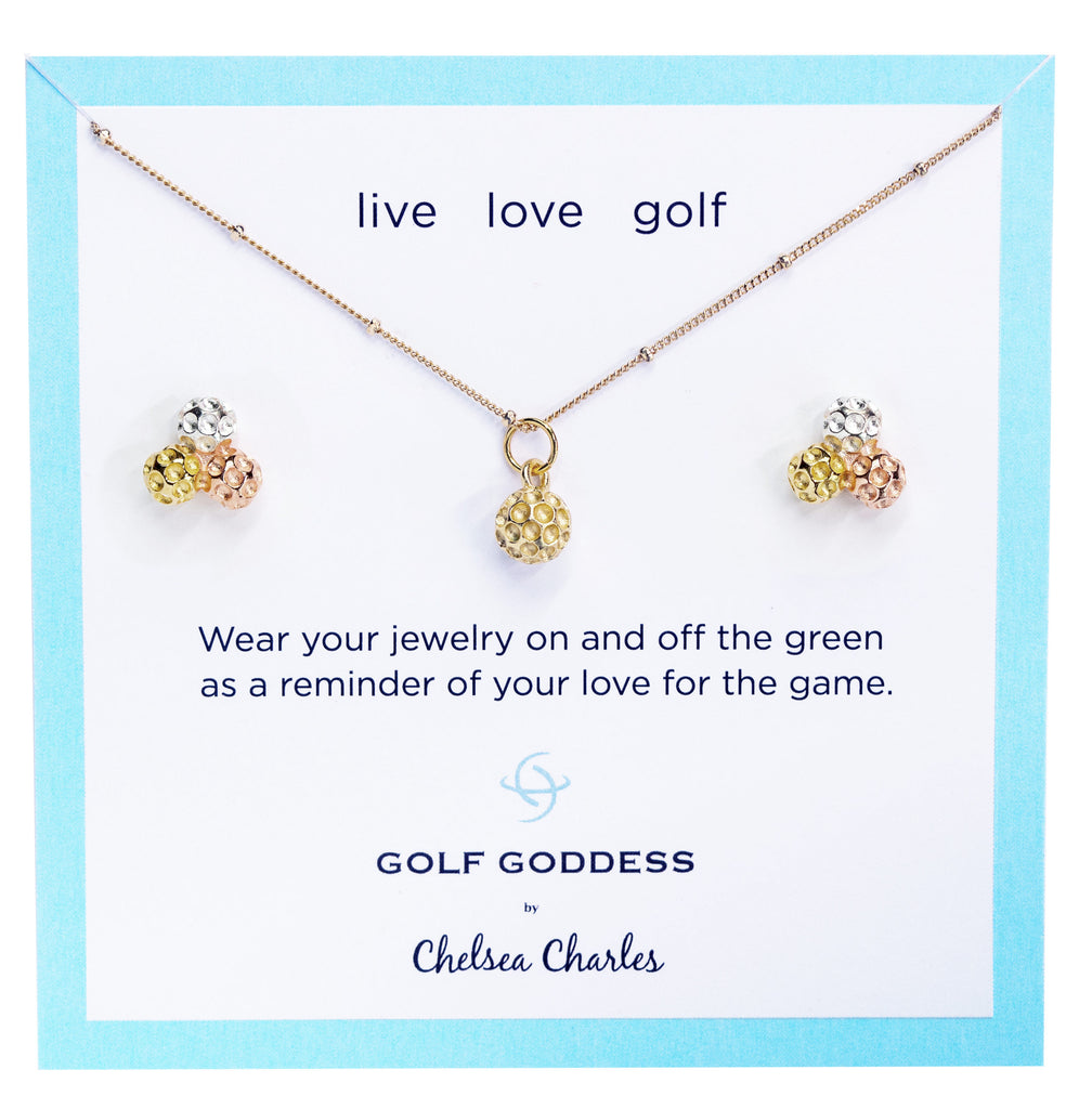 Golf Goddess Gold Golf Ball Necklace and Tricolor Cluster Golf Ball Earrings Gift Set by Chelsea Charles