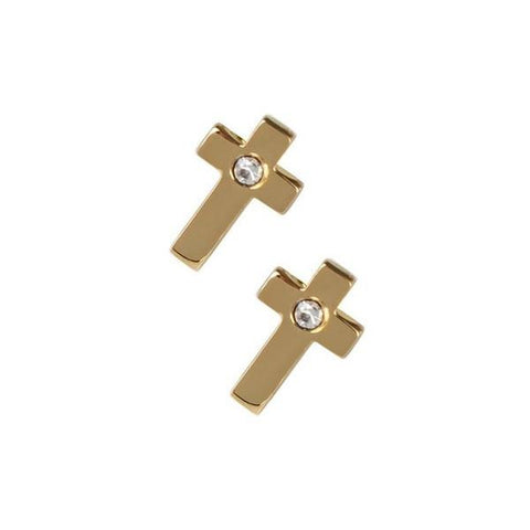 Mini Gold Cross Earrings