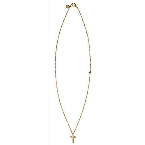Gold Cross Necklace with Diamond Center