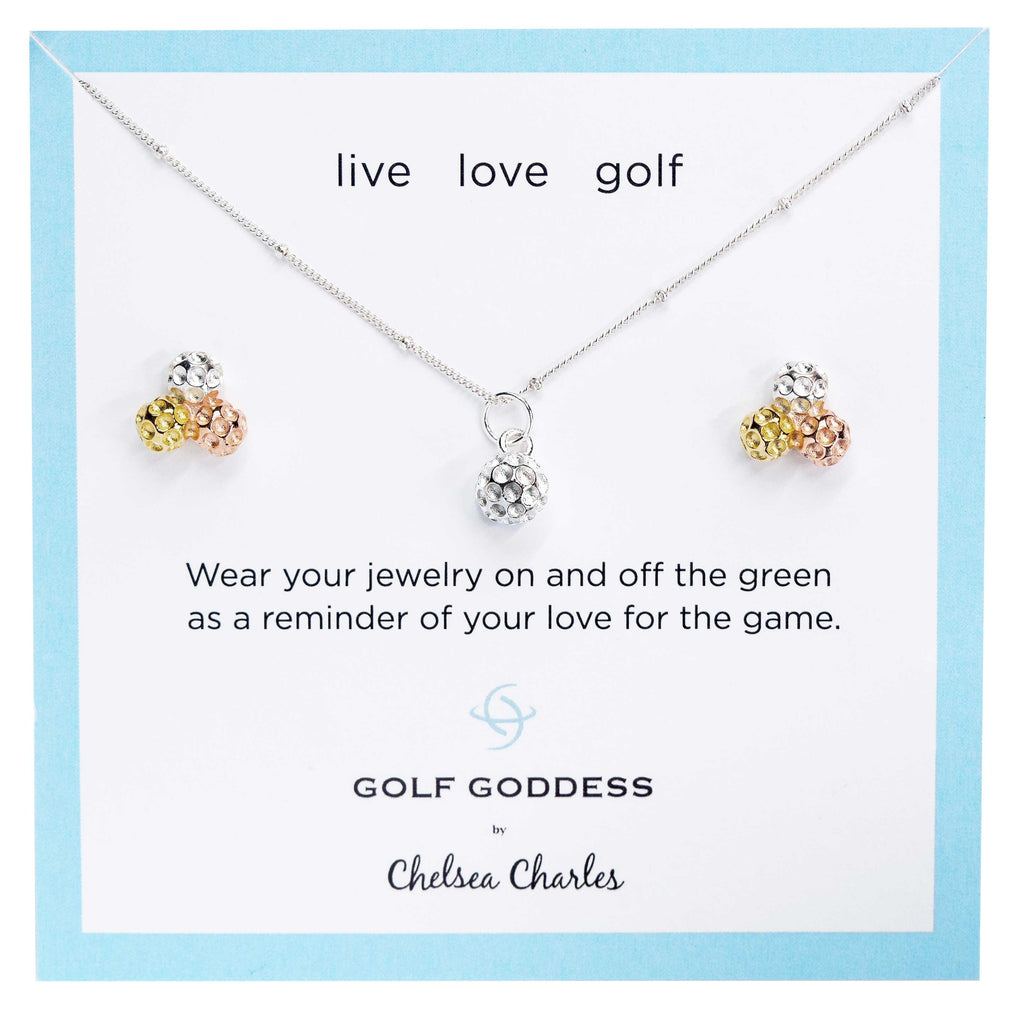 Golf Goddess Silver Golf Ball Necklace and Tricolor Golf Ball Cluster Earrings Gift Set by Chelsea Charles
