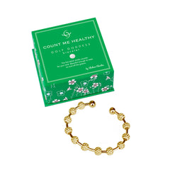 Golf Goddess gold golf ball bead score counter bracelet by Chelsea Charles. Beautiful golf gifts for women.