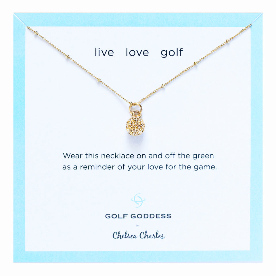 Gold Goddess gold golf ball charm necklace by Chelsea Charles