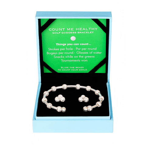 Golf Goddess Gift Set - Silver Stroke Counter Bracelet & Crystal Cluster Earrings