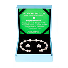 Golf Goddess Gift Set - Silver Score Counter Bracelet & Crystal Cluster Earrings