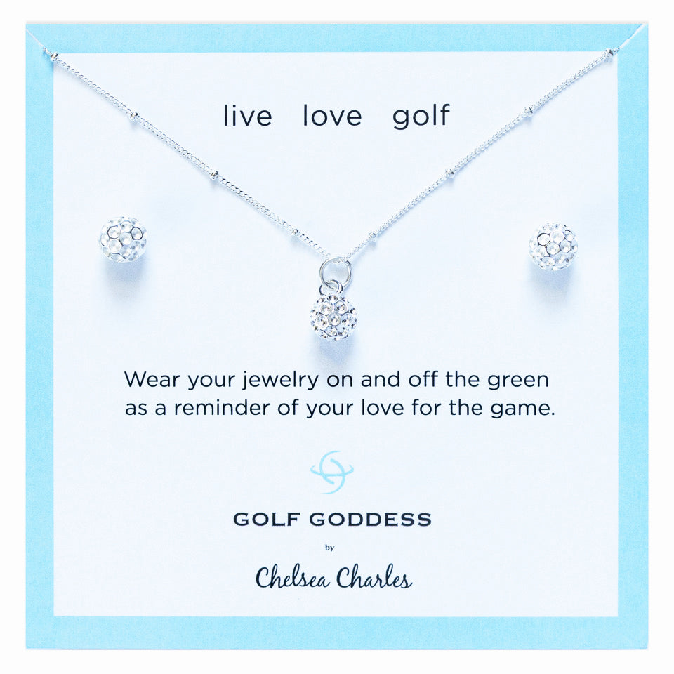 Golf Goddess Silver Golf Ball Necklace and Earrings Gift Set by Chelsea Charles