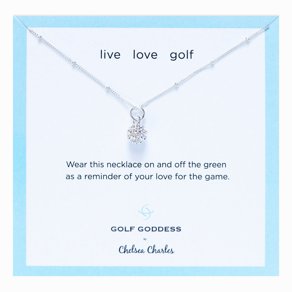 Golf Goddess Silver Golf Ball Charm Necklace