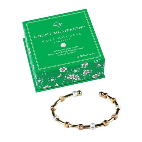 Golf Goddess Tri-Color Bracelet - Gold Cuff