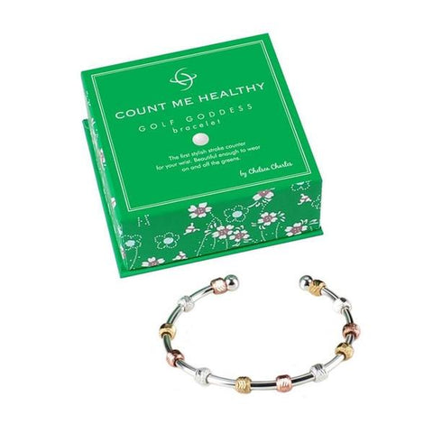 Golf Goddess Tri-Color Bracelet - Silver Cuff