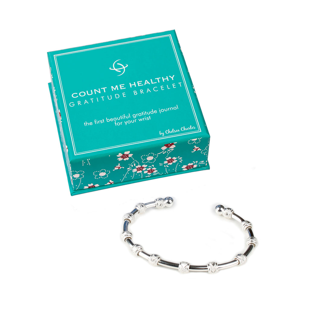 Count Me Healthy Gratitude Journal Bracelet Silver by Chelsea Charles